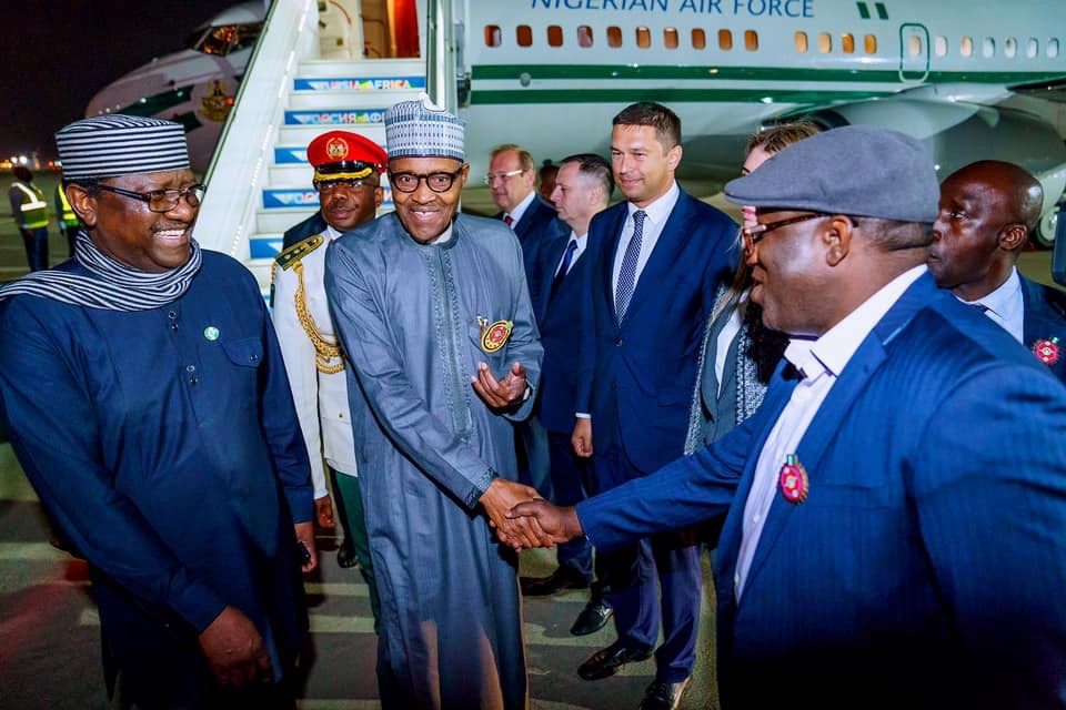 Image result wey dey for Buhari, Others In Russia For Russia-Africa Summit, Economic Forum